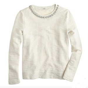 J. Crew Cream Marled Jewel Sweatshirt